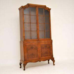 antique burr walnut bookcase