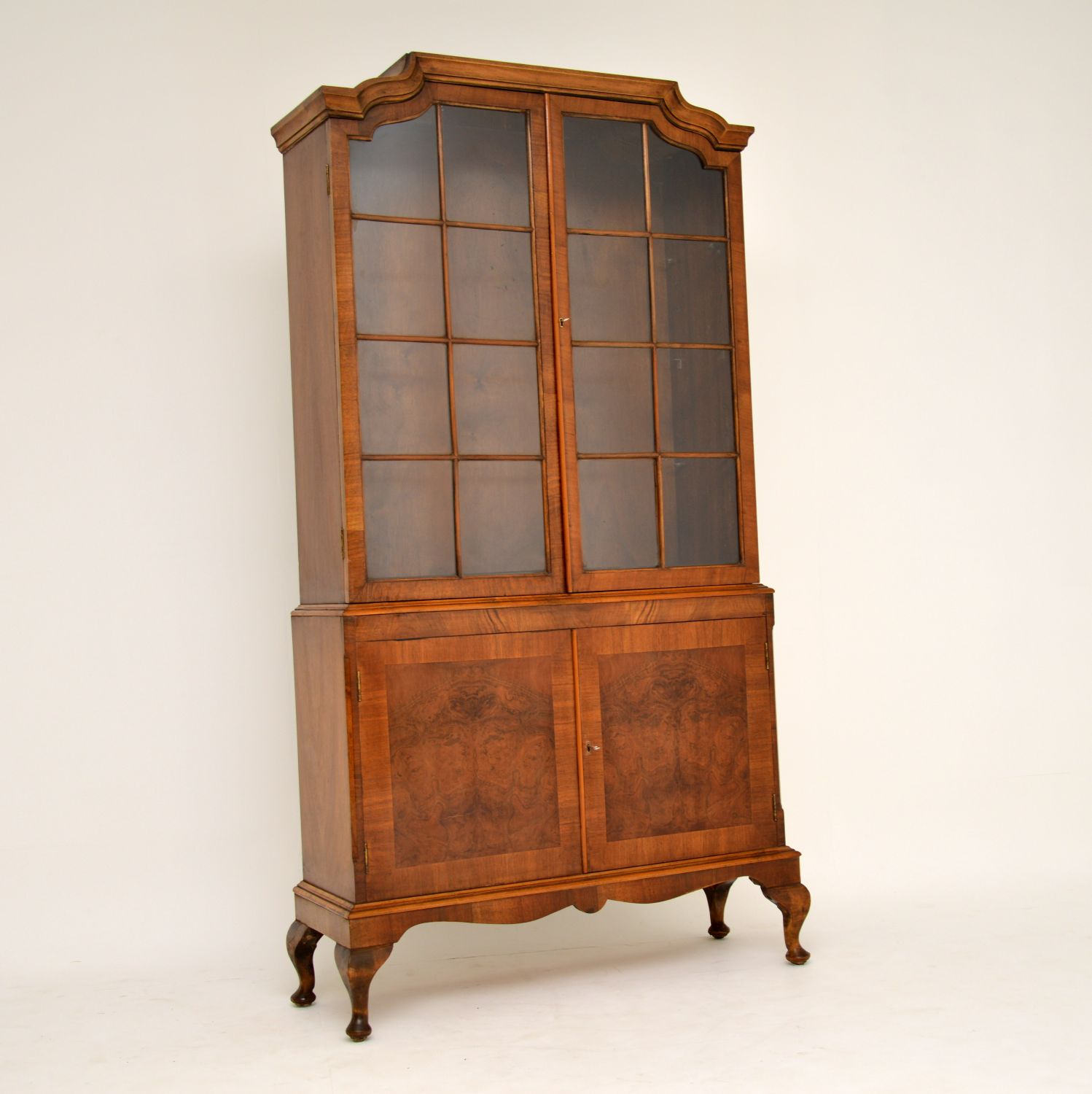 antique burr walnut bookcase