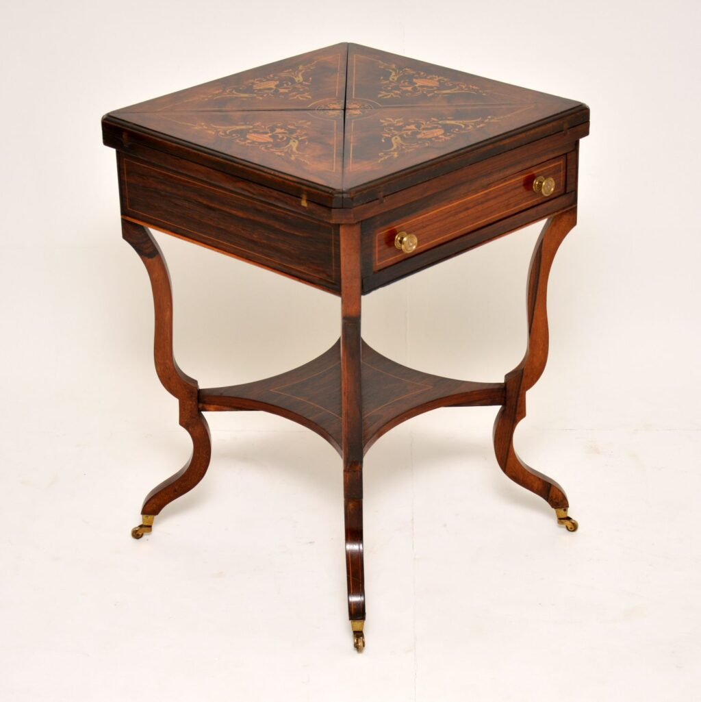 antique edwardian rosewood inlaid envelope card table