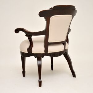 antique edwardian carved mahogany armchair