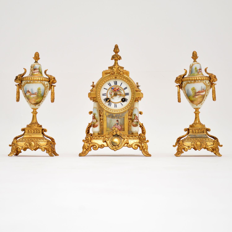 antique french gilt porcelain mantel clock set