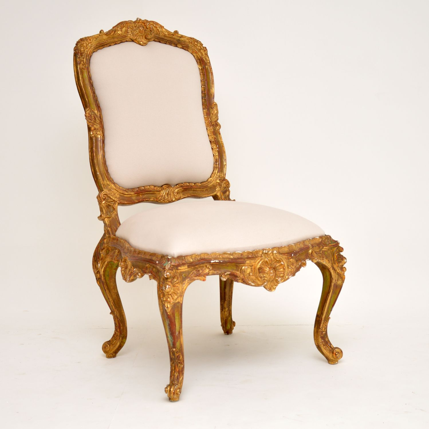 antique french carved gilt wood side chair