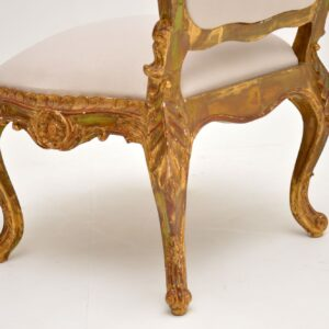 Antique Italian Style Gilt Wood Side Chair