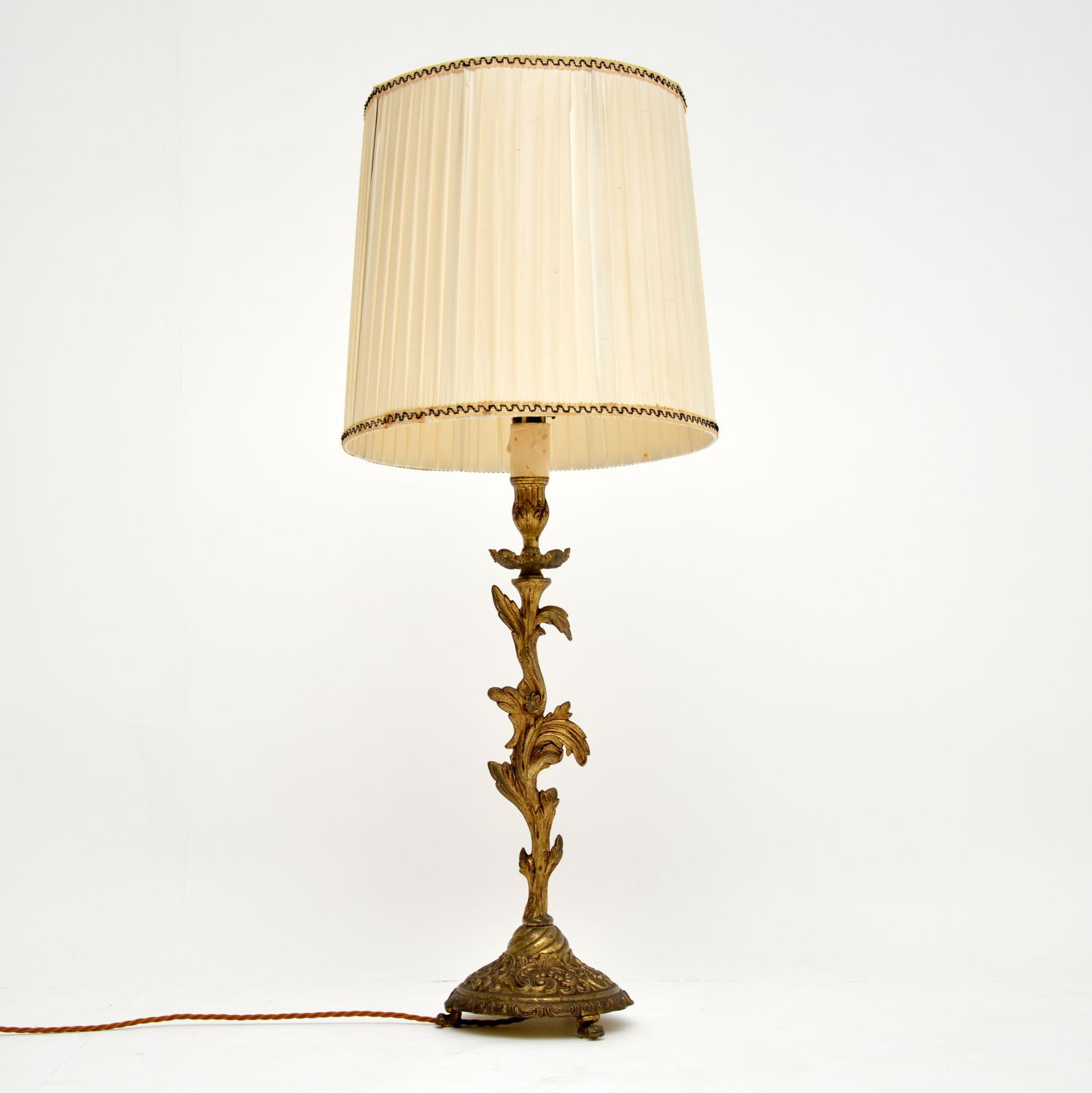 antique gilt metal table lamp