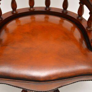 antique vintage leather mahogany swivel desk chair captains chair
