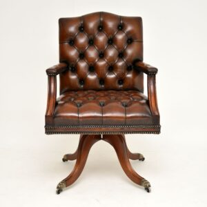 antique leather mahogany swivel desk chair armchair