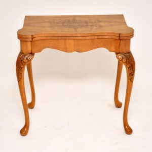 antique burr walnut queen anne card games table
