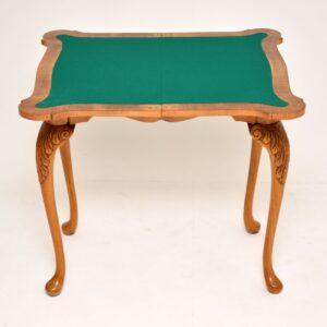 antique burr walnut queen anne card games table