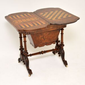 antique victorian walnut games table