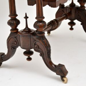 Antique Victorian Burr Walnut Games & Work Table
