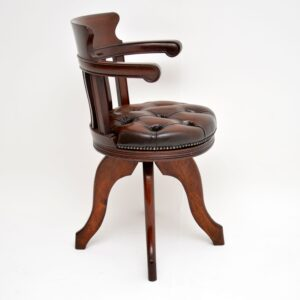 antique victorian mahogany and leather swivel desk chair