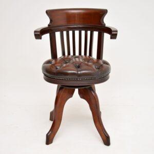 antique victorian mahogany leather mahogany swivel desk chair armchair