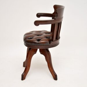 antique victorian mahogany leather mahogany swivel desk chair armchair