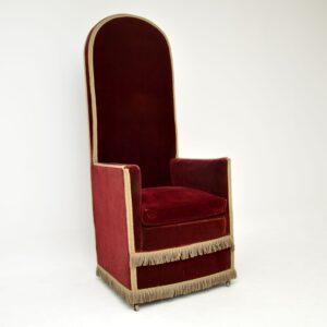 antique velvert armchair porters chair throne
