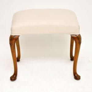 antique queen anne walnut stool