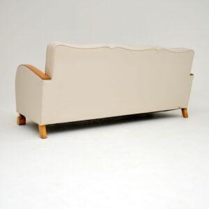 art deco swedish satin birch sofa settee