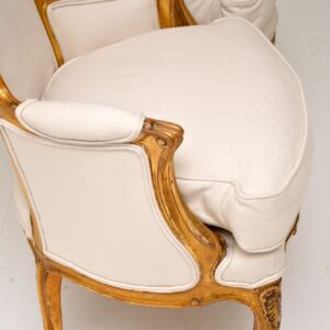 pair antique french gilt wood salon chairs armchairs