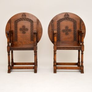 pair of antique oak monks bench armchairs tables