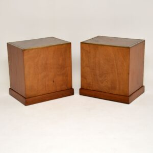 pair of antique mahogany leather military campaign bedside cabinets