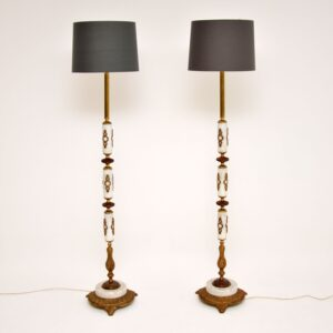 pair of antique marble gilt metal floor lamps