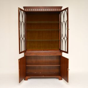 Antique Burr Walnut Two Section Display Cabinet