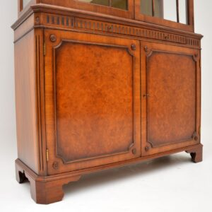 antique burr walnut georgian style display cabinet