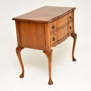 antique burr walnut low boy chest side table
