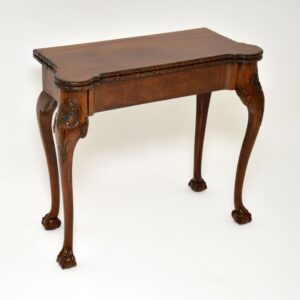 antique carved walnut card games table