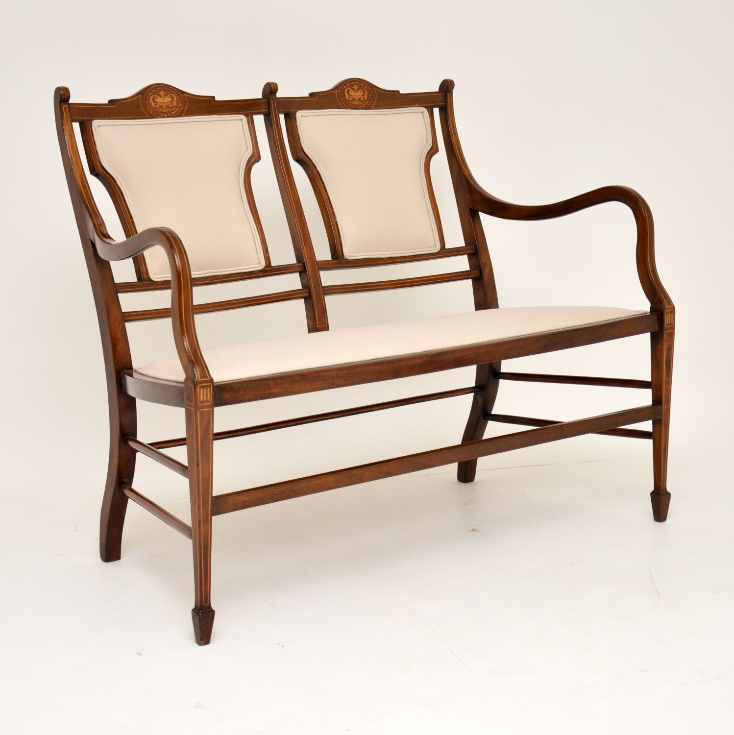 antique edwardian inlaid mahogany sofa settee