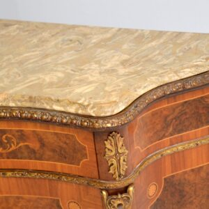 antique inlaid marquetry marble top cabinet