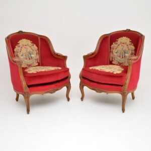 pair of antique french carved walnut tapestry armchairs