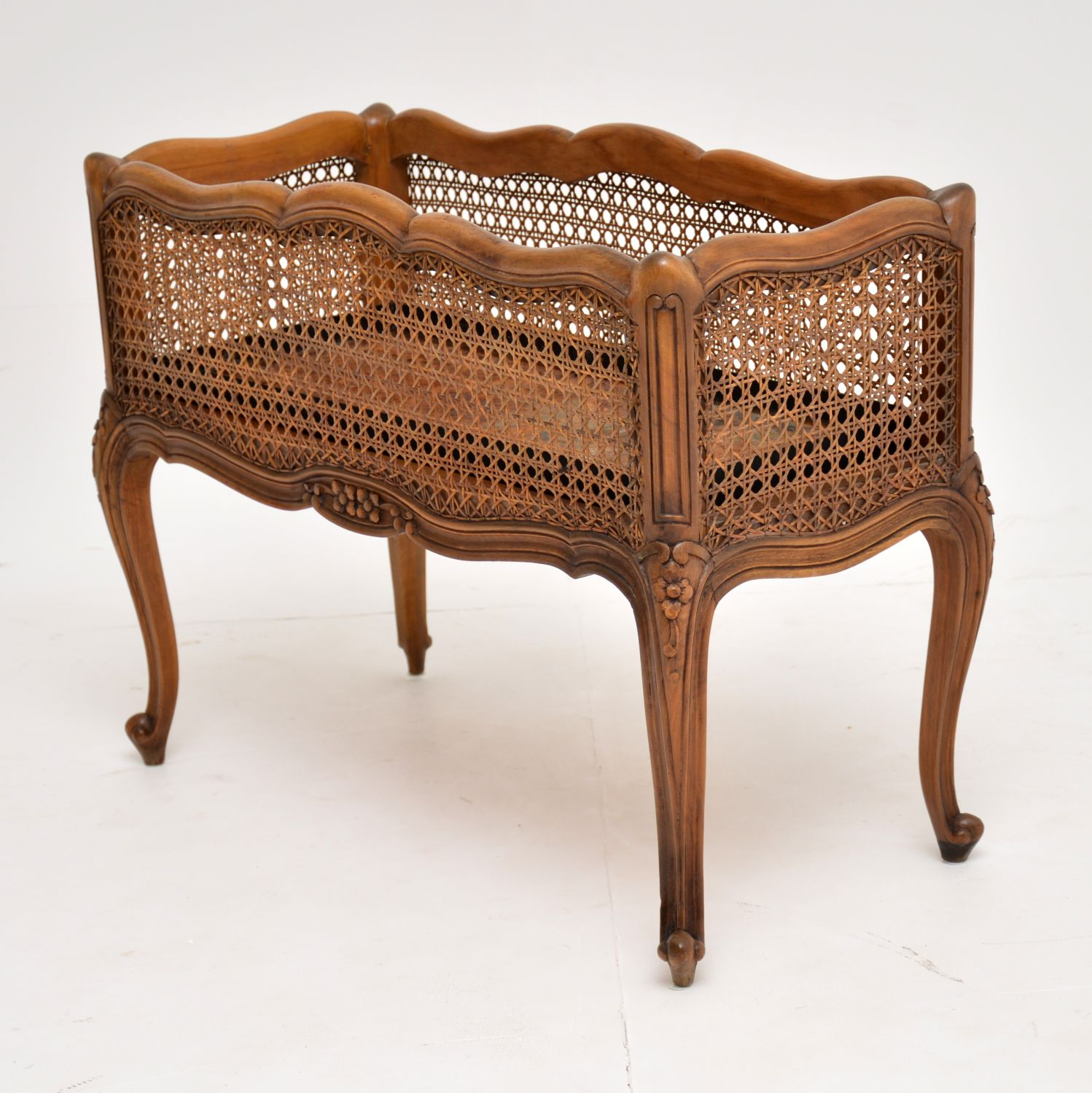 antique french caned rattan planter trough