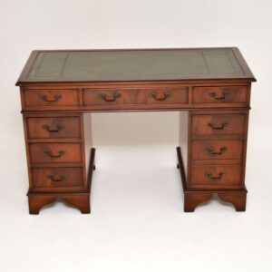 antique mahogany leather pedestal desk