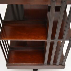 antique inlaid mahogany revolving bookcase