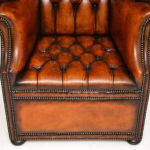 antique georgian leather wing back porters armchair