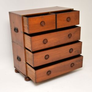 Antique Teak Military Campaign Chest of Drawers