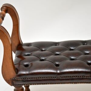 Antique Mahogany & Leather Stool / Bench