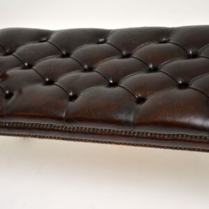 antique regency mahogany leather bench stool window seat