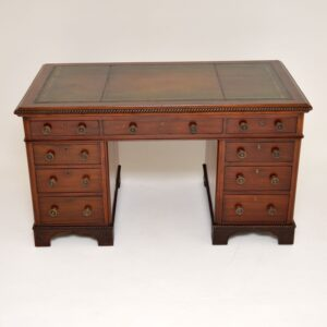 antique victorian william IV mahogany leather pedestal desk