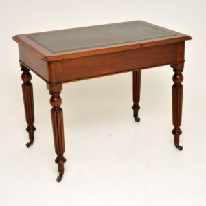 Antique Victorian Mahogany & Leather Writing Table / Desk