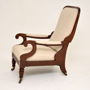 antique william IV mahogany reclining library armchair by george minter of soho
