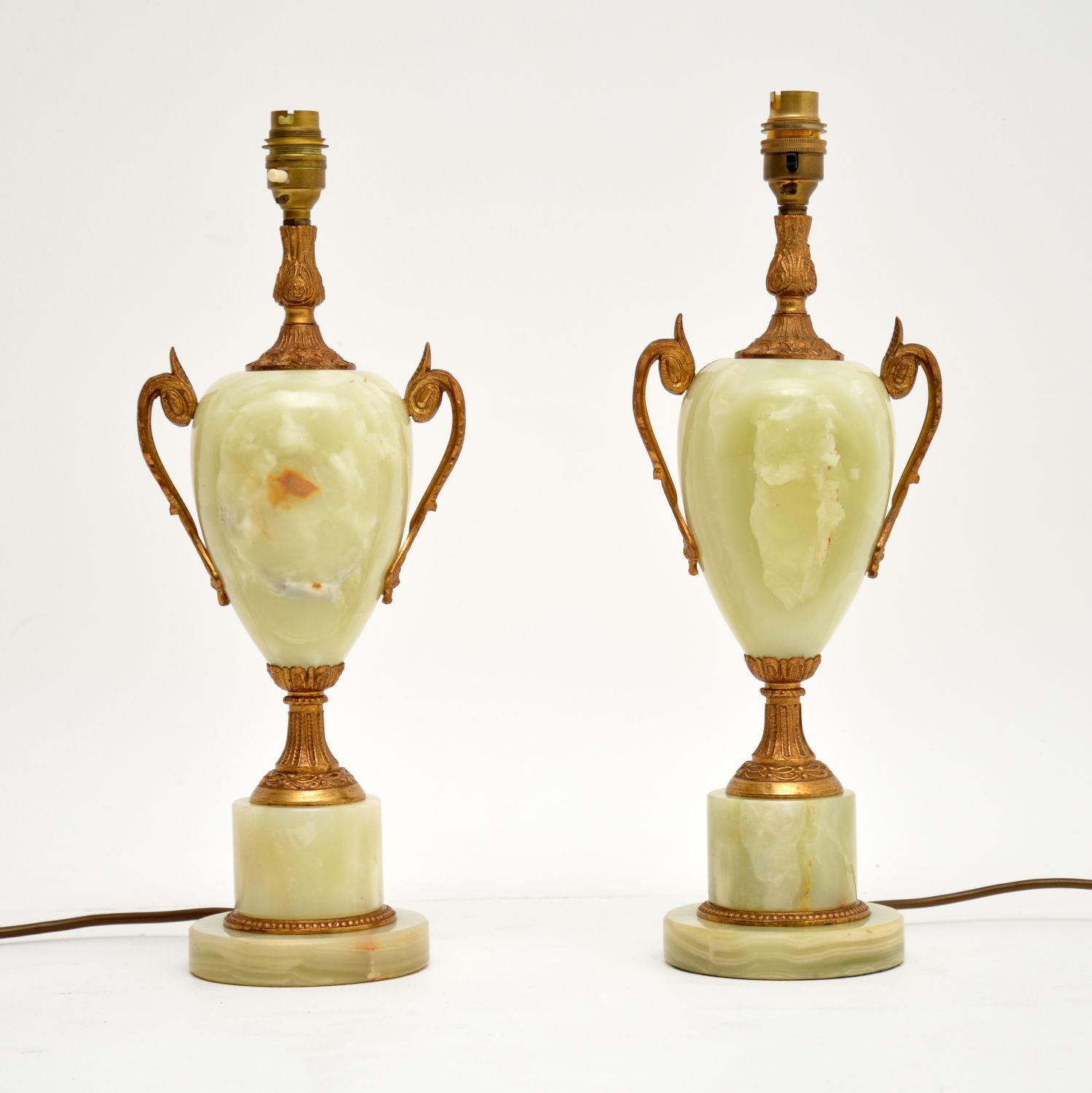 pair of antique alabaster table lamps