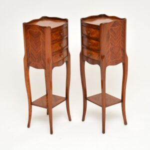 pair of antique french inlaid king wood bedside chests cabinets side tables