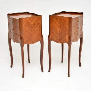 pair of antique french inlaid marquetry bedside lamp tables chests