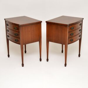 pair of antique inlaid mahogany bedside chests cabinets