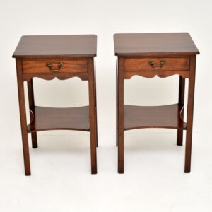 pair of antique mahogany bedside side lamp tables