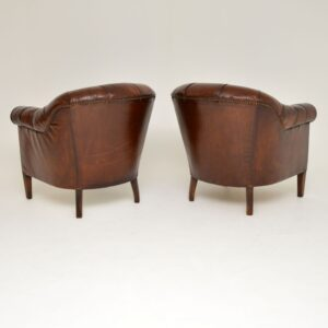 Pair of Antique Swedish Leather Deep Buttoned Armchairs