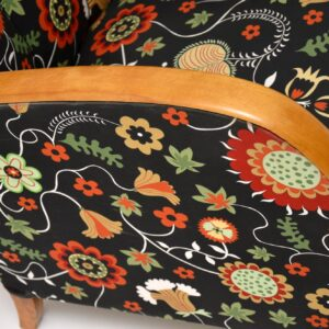 pair of swedish satin birch art deco armchairs josef frank fabric