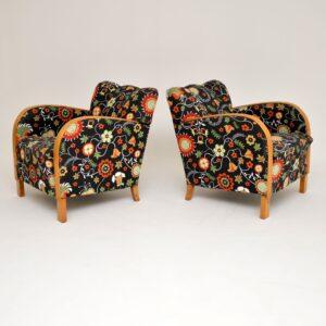 pair of swedish satin birch art deco armchairs josef frank fabric