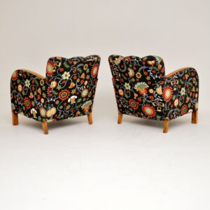 Pair of Swedish Art Deco Satin Birch Armchairs - Fabric by Josef Frank